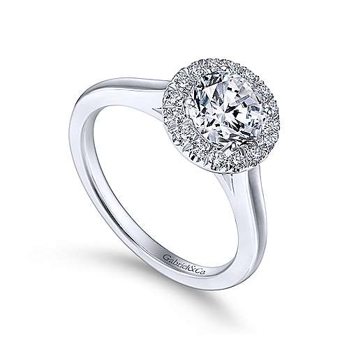 Gabriel & Co. 14k White Gold Round Halo Diamond Engagement Ring