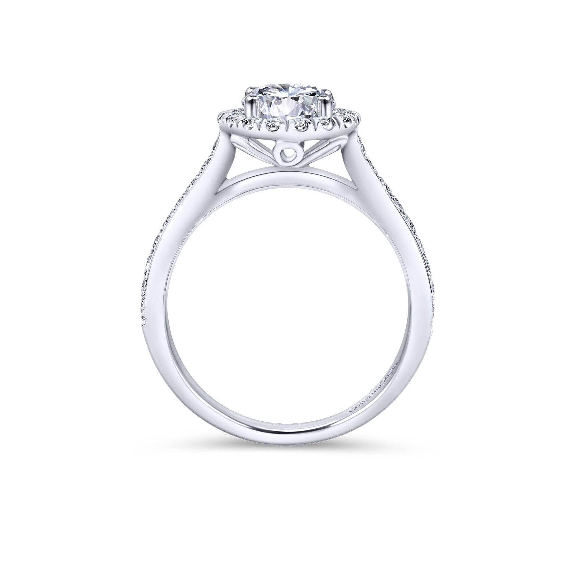 Gabriel & Co. 14k White Gold Diamond Round Halo Vintage Style Engagement Ring