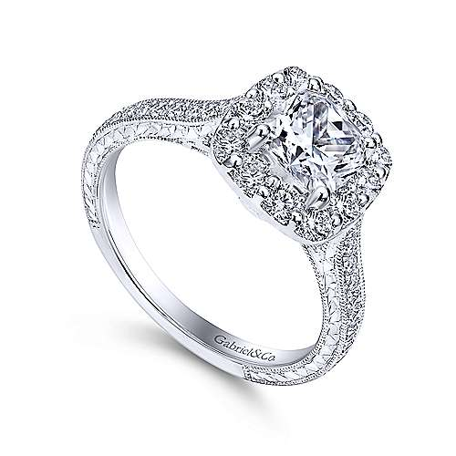 Gabriel & Co. 14k White Gold Cushion Cut Vintage Style Engagement Ring