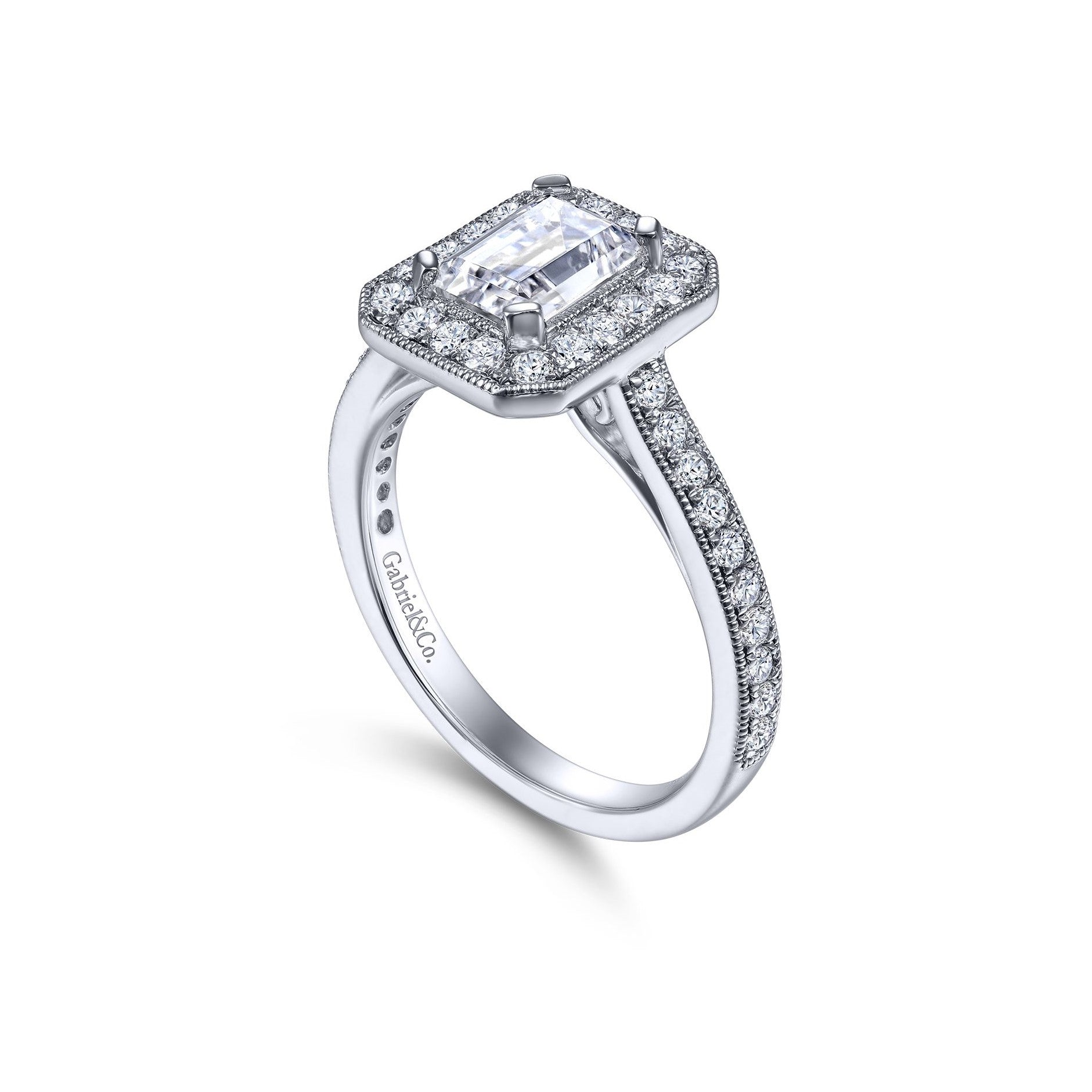 Gabriel & Co. 14k White Gold Emerald Cut Halo Diamond & Milgrain Engagement Ring