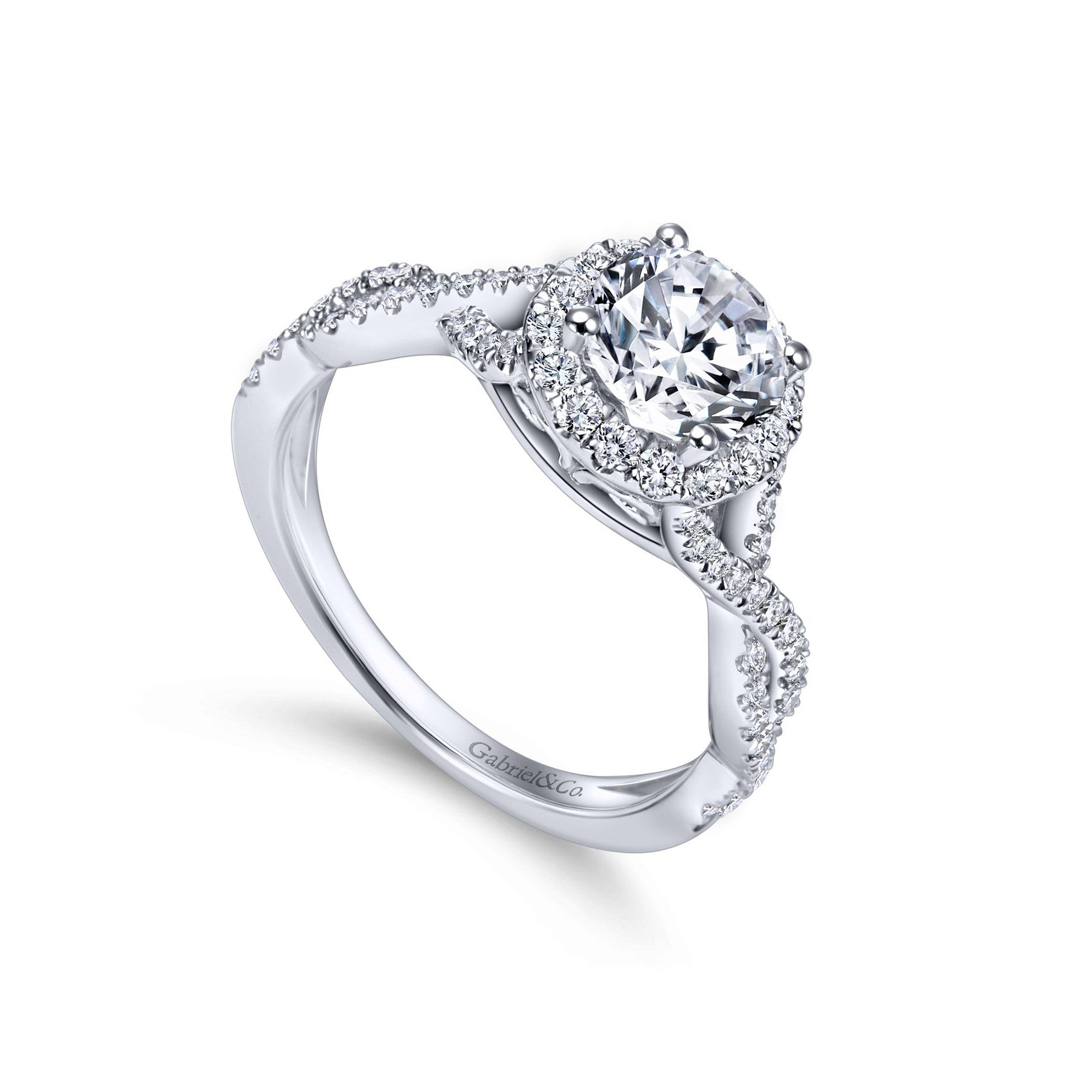 Gabriel & Co. 14K White Gold Twisted Diamond Halo Engagement Ring