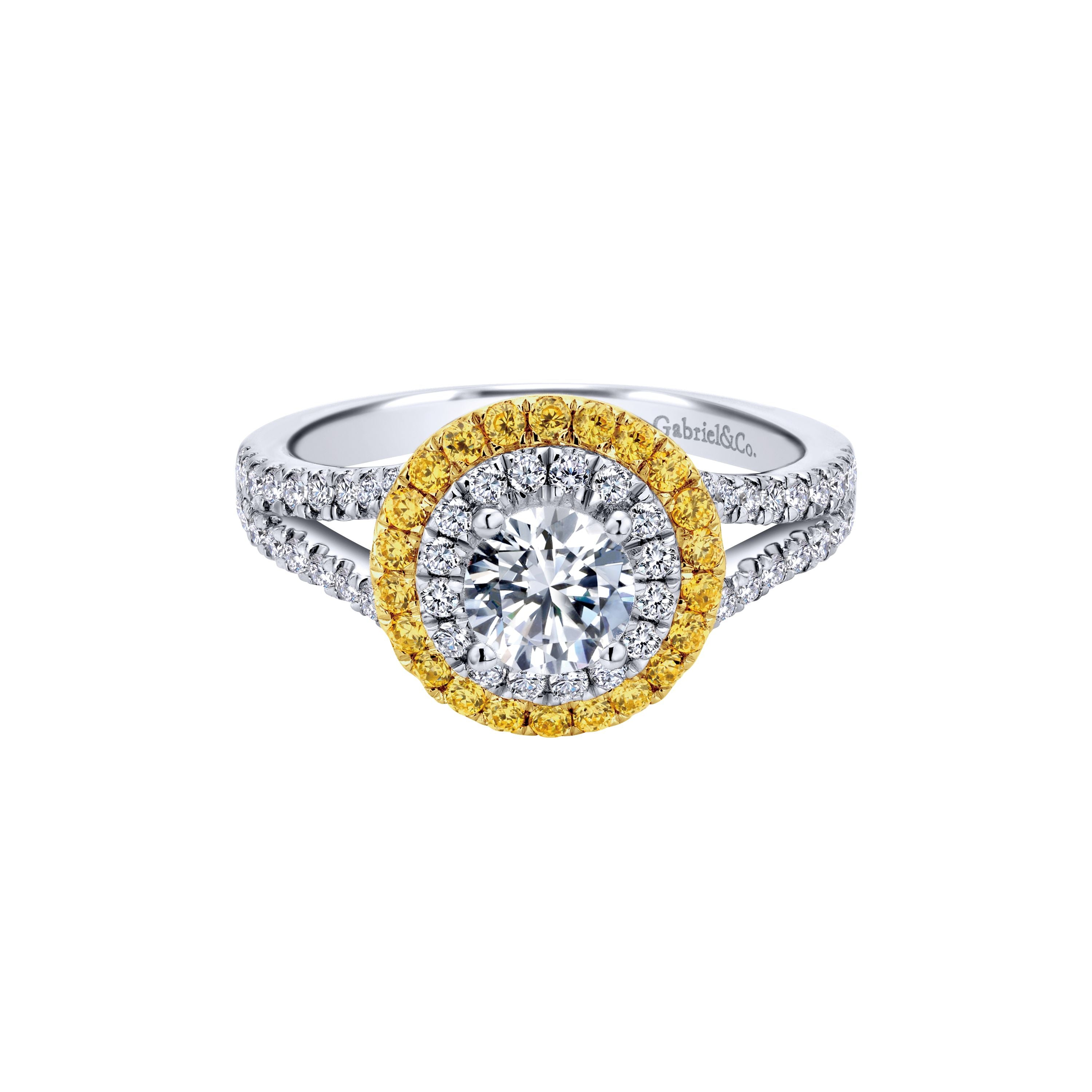 Gabriel & Co. 14k White Gold Round Double Halo with Diamonds & Yellow Sapphires Engagement Ring