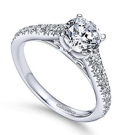 Gabriel & Co. 14k White Gold Straight Style Graduated Diamond Engagement Ring