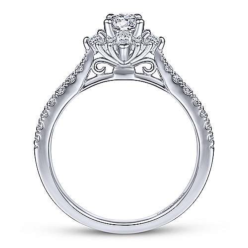 Gabriel & Co. 14K White Gold Floral Diamond Halo Engagement Ring
