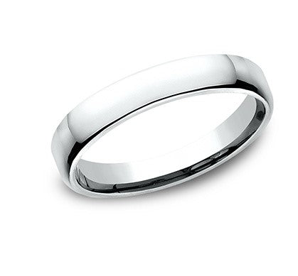 3.5mm 10 karat white gold classic ring with a high polish finish