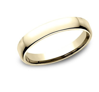 3.5mm 18 karat yellow gold classic ring with a high polish finish