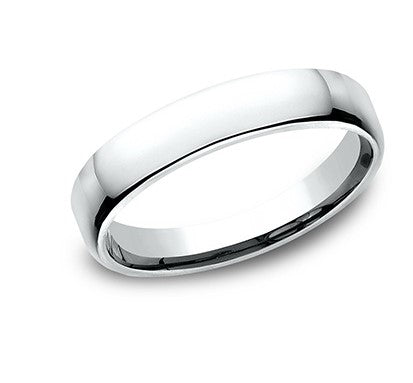 4.5mm 14 karat white gold classic ring with a high polish finish