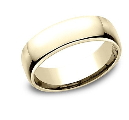6.5mm 10 karat yellow gold classic ring with a high polish finish