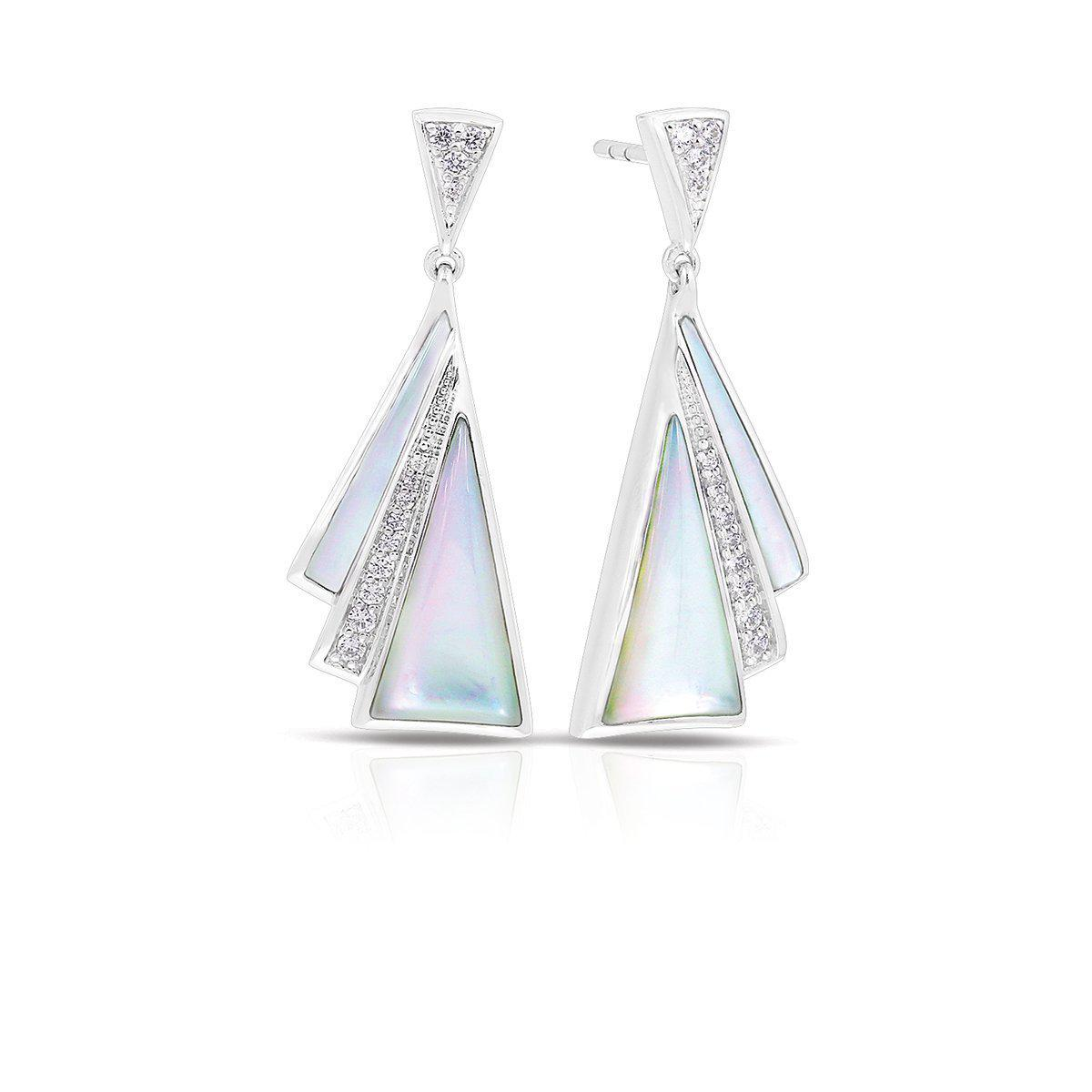 Belle Etoile Sterling Silver White Mother of Pearl Geometric Drop Earrings