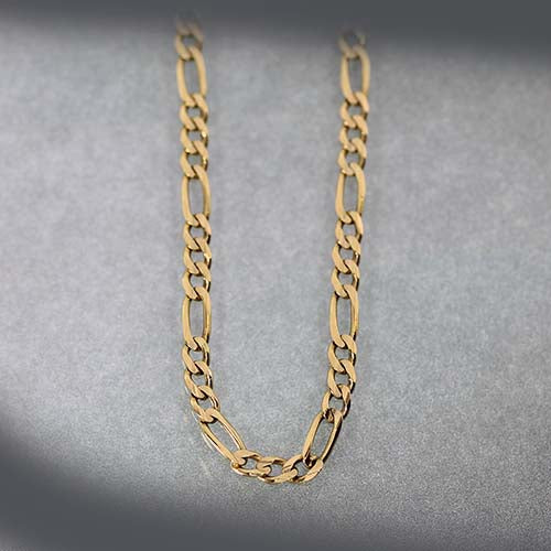 14 karat yellow gold, figaro link, estate chain necklace