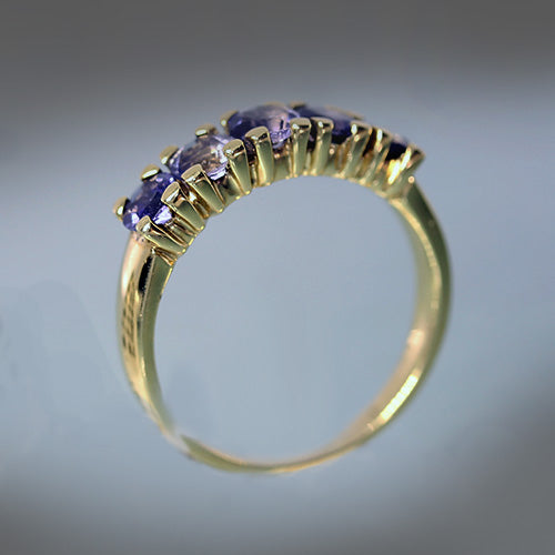 18 karat yellow gold, 5 stone iolite, blue purple, estate ring