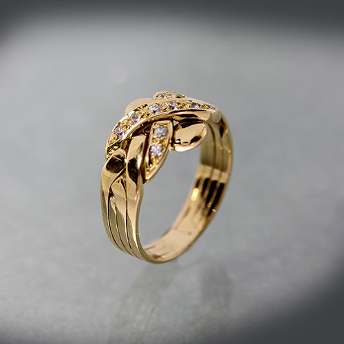 Estate 18k diamond puzzle ring