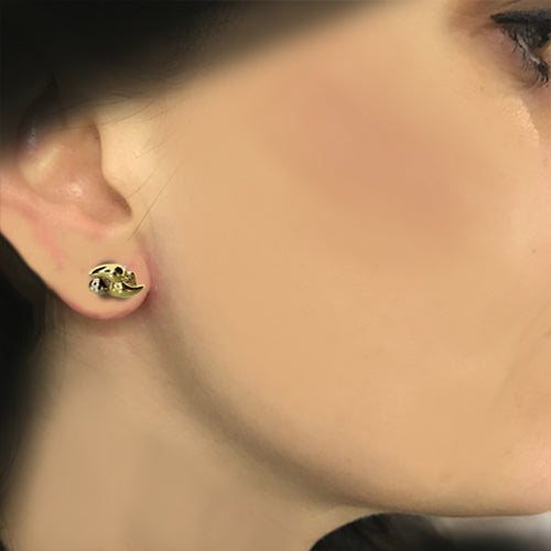18 karat yellow gold, abstract design, estate stud earrings
