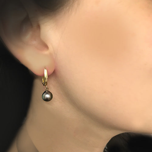 Estate black pearl drop 10k yellow gold earrings