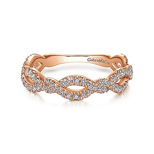 Gabriel & Co. 14k Gold Ribbon Twisted Diamond Band