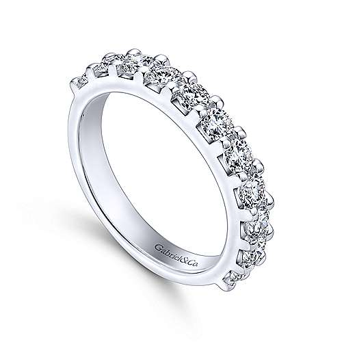Gabriel & Co. 14k White Gold 0.94ctw11 stone Shared Prong Diamond Wedding Ring