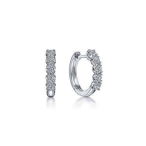 14 karat white gold and diamond 15mm huggie hoop earrings by Gabriel and Co