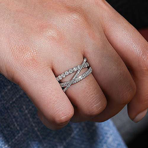 Gabriel & Co. 14K White Gold Split Shank Layered Diamond Ring