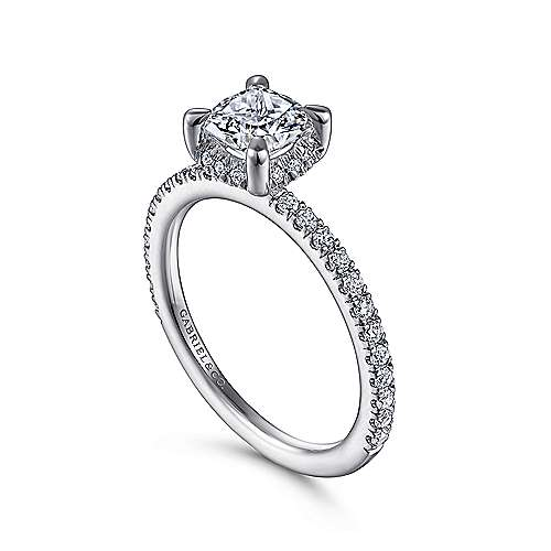 14K White Gold Hidden Halo Cushion Cut Diamond Engagement Ring by Gabriel & Co. Centre stone not included.