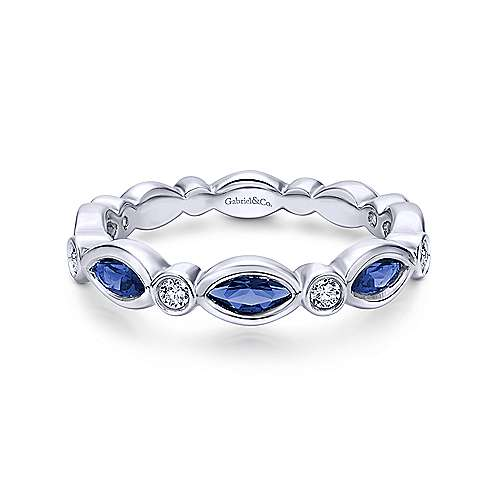 Gabriel & Co 14K White Gold Marquise Sapphire and Round Diamond Ring