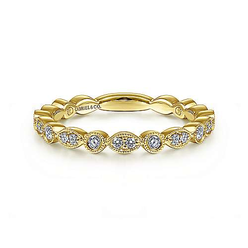14k Gold Marquise Shape & Round Milgrain Edge Diamond Band by Gabriel & Co