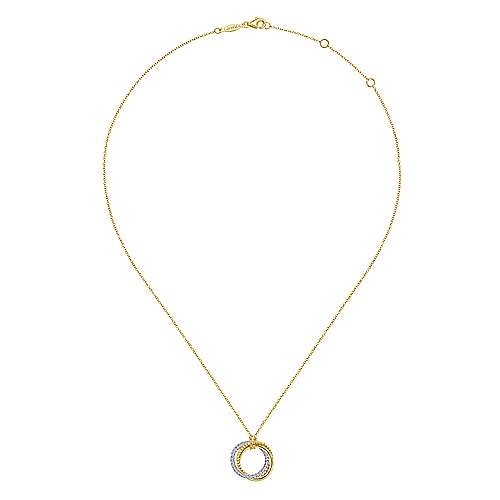 14K Yellow-White Gold Diamond Pavé and Twisted Rope Interlocking Circles Pendant Necklace