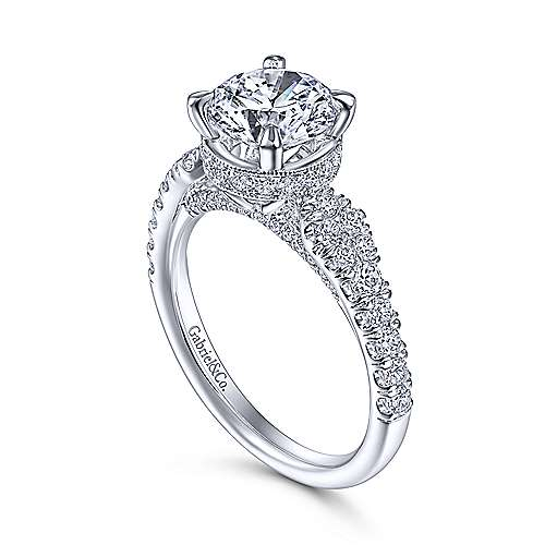 14 karat white gold graduated double row diamond accented engagement ring by Gabriel & Co. Centre stone not included.