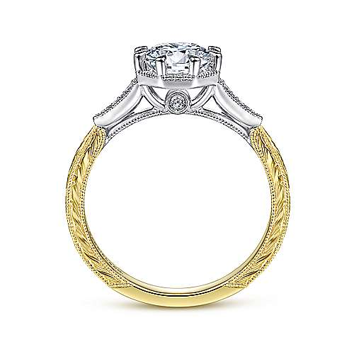 14K White & Yellow Gold Vintage Inspired 8 Claw Round Engagement Ring by Gabriel & Co. Centre stone not included.