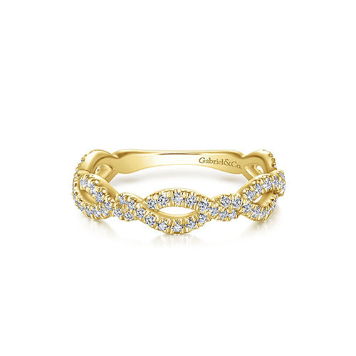 14k Gold Ribbon Twisted Diamond Band by Gabriel & Co