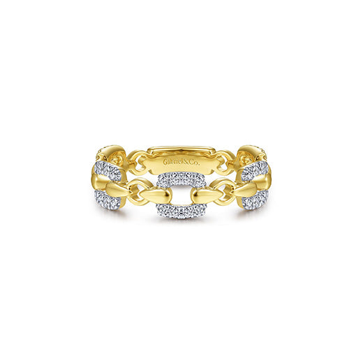 Gabriel & Co. 14k Yellow Gold & Diamond Link Ring