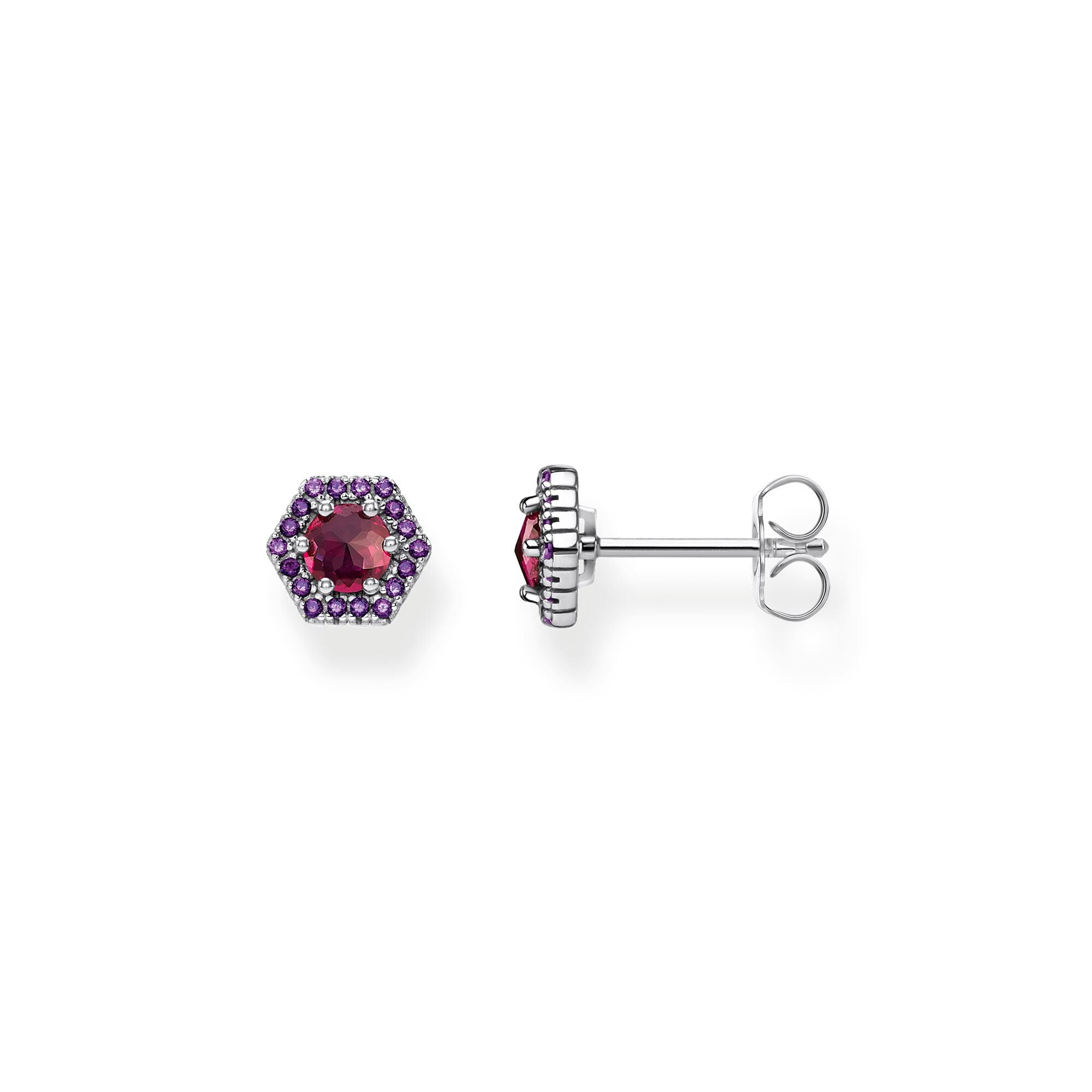 Sterling silver, designer thomas sabo, red and violet stone, hexagon shape, stud earrings