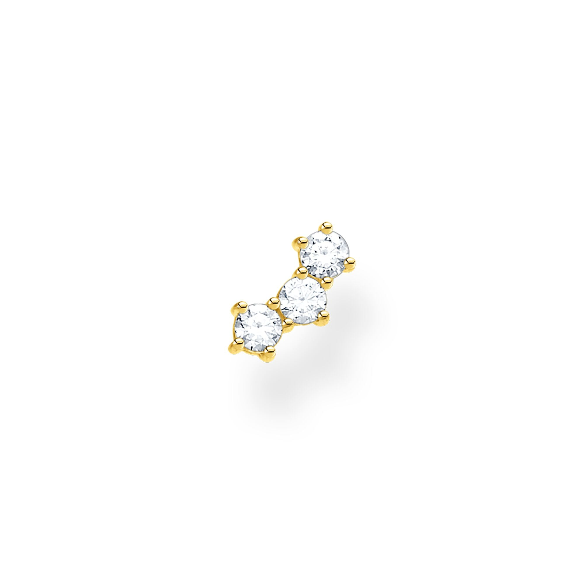 Thomas Sabo, Sterling Silver, Yellow Gold Plated, Cubic Zirconia, Single Earring Stud, Three Stone, Curved, Push backing, Ottawa