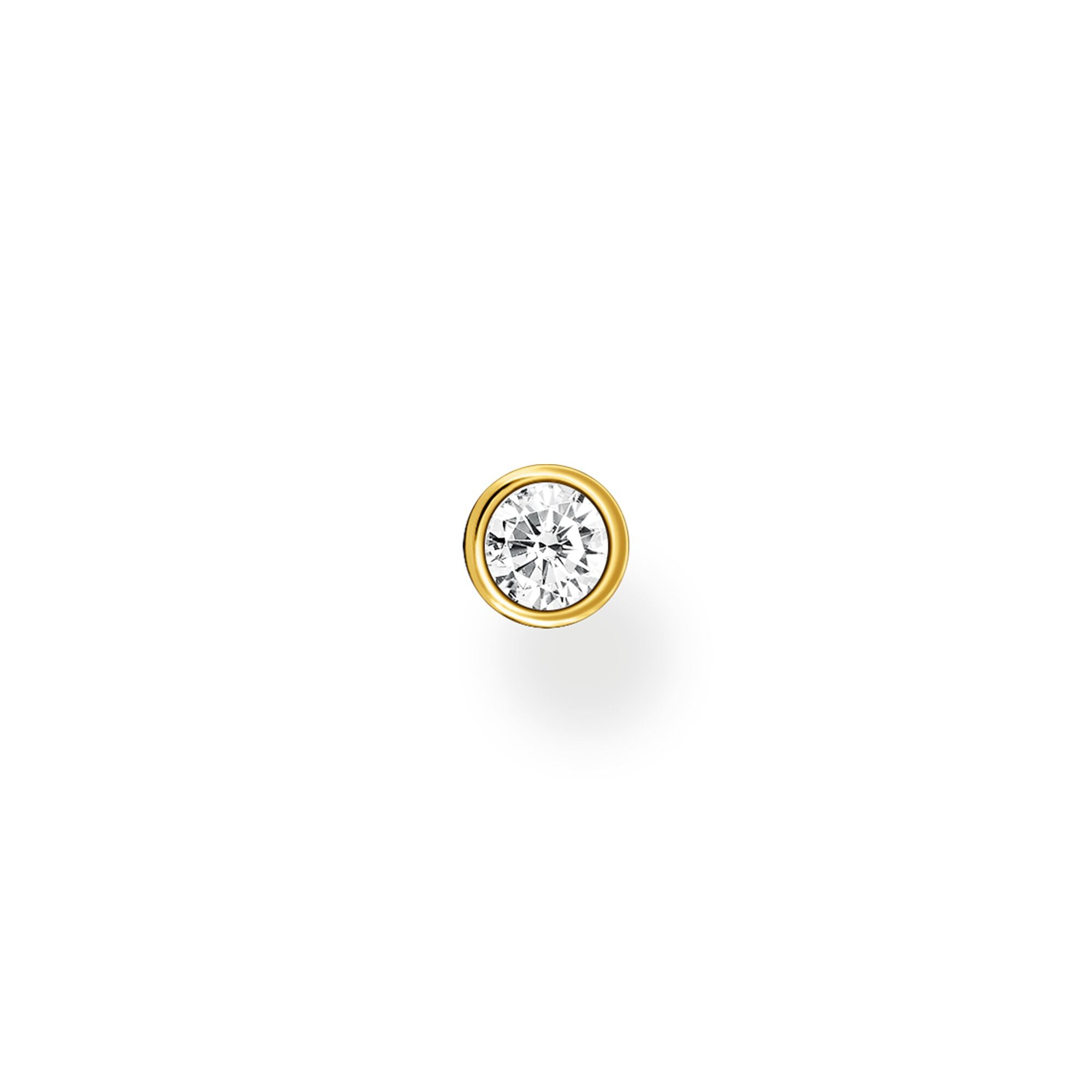 Thomas Sabo, Sterling Silver, Yellow Gold Plated, Cubic Zirconia, Single Stone, Single Stud Earring, Push backing, Ottawa