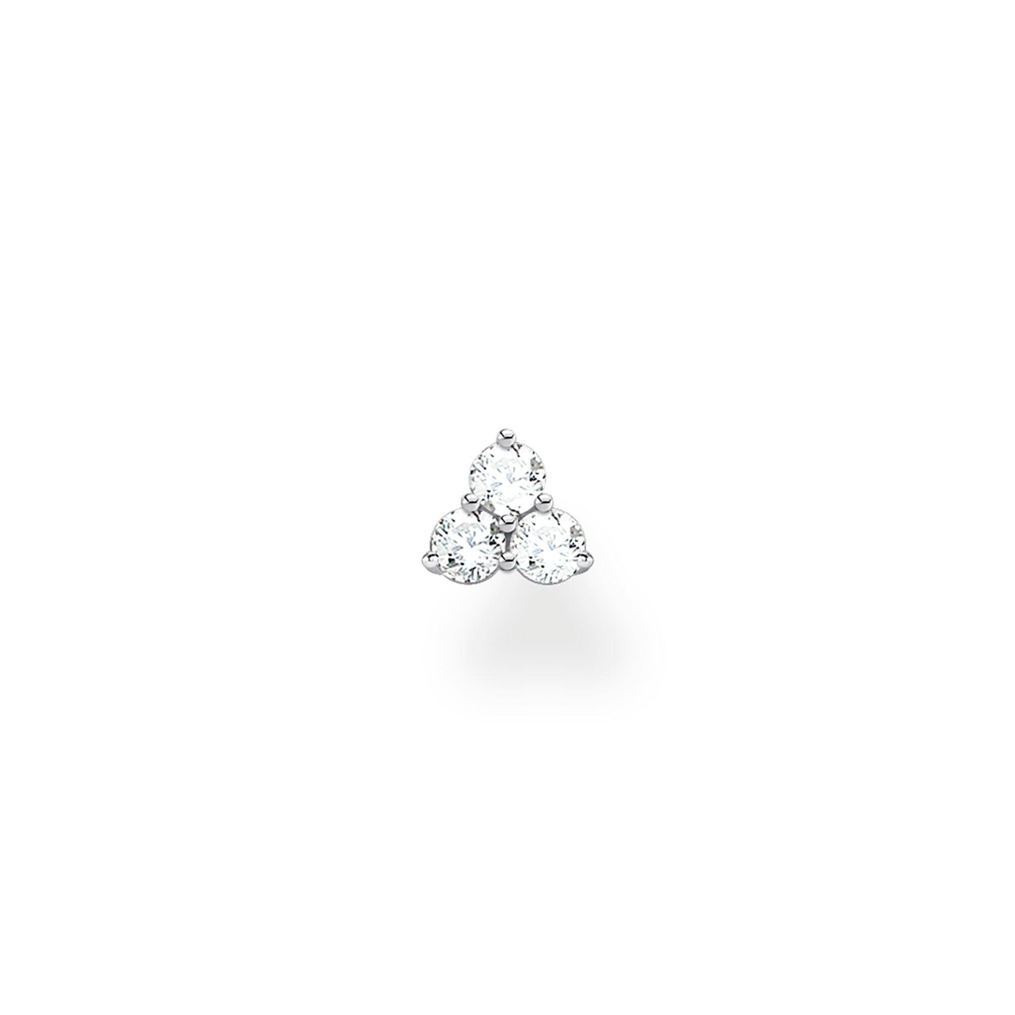 Thomas Sabo, Sterling Silver, Cubic Zirconia, Single Earring Stud, Trinity, Push backing, Ottawa