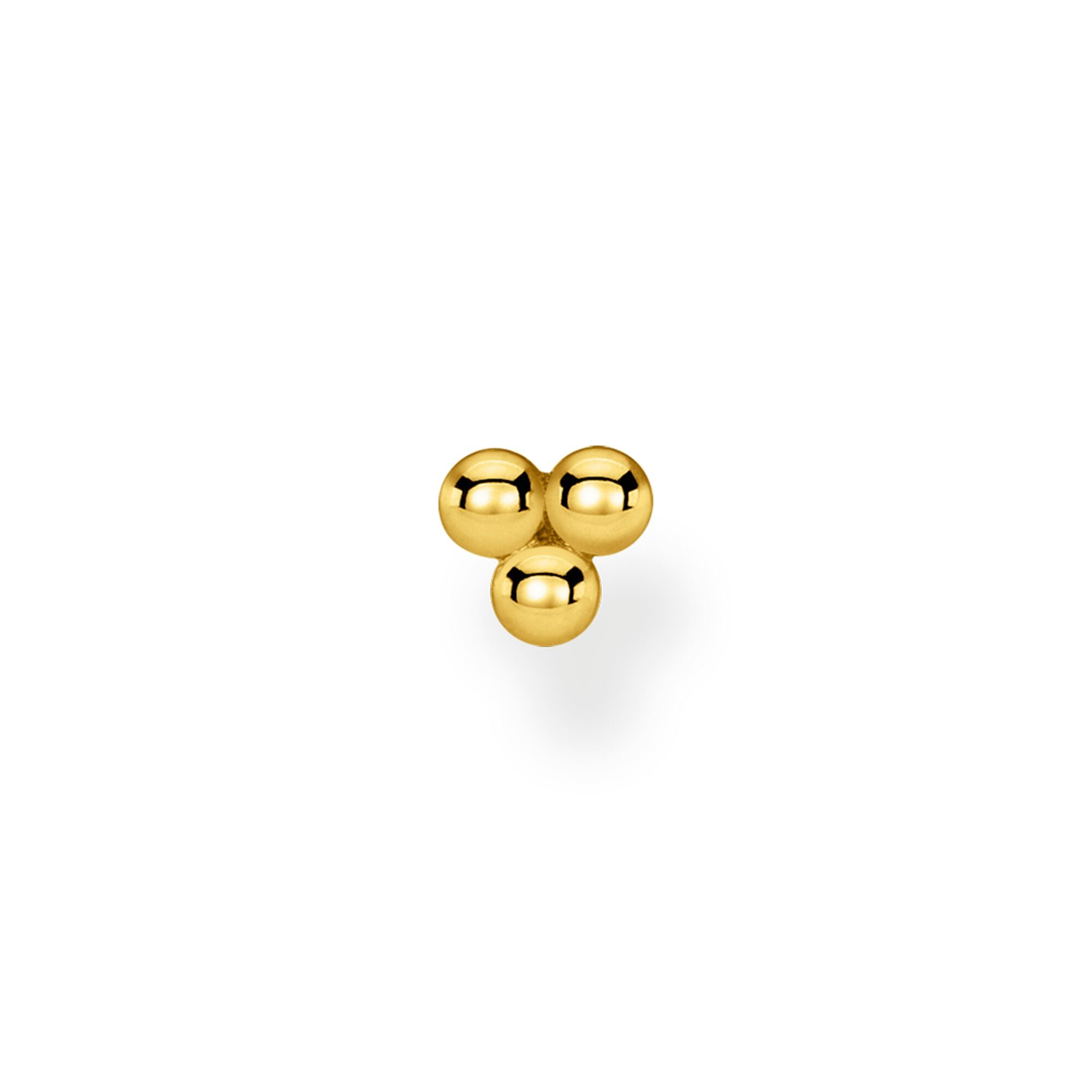 Thomas Sabo, Sterling Silver, Yellow Gold Plated, Single Earring Stud, Trinity Dots, Push backing, Ottawa
