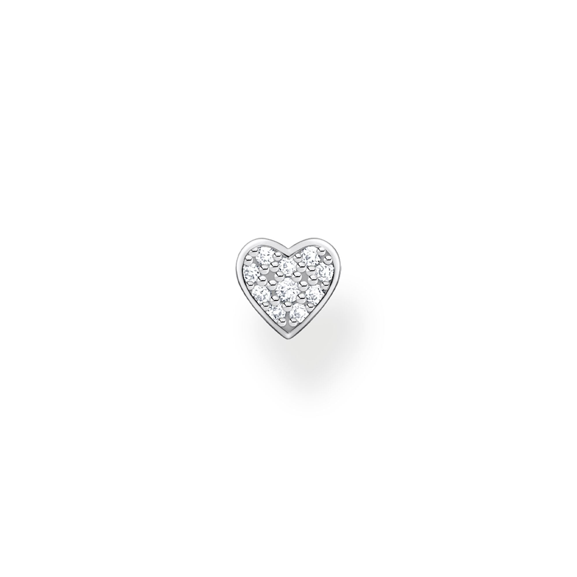 Thomas Sabo, Sterling Silver, Cubic Zirconia, Pave, Heart, Single Earring Stud, Push backing, Ottawa