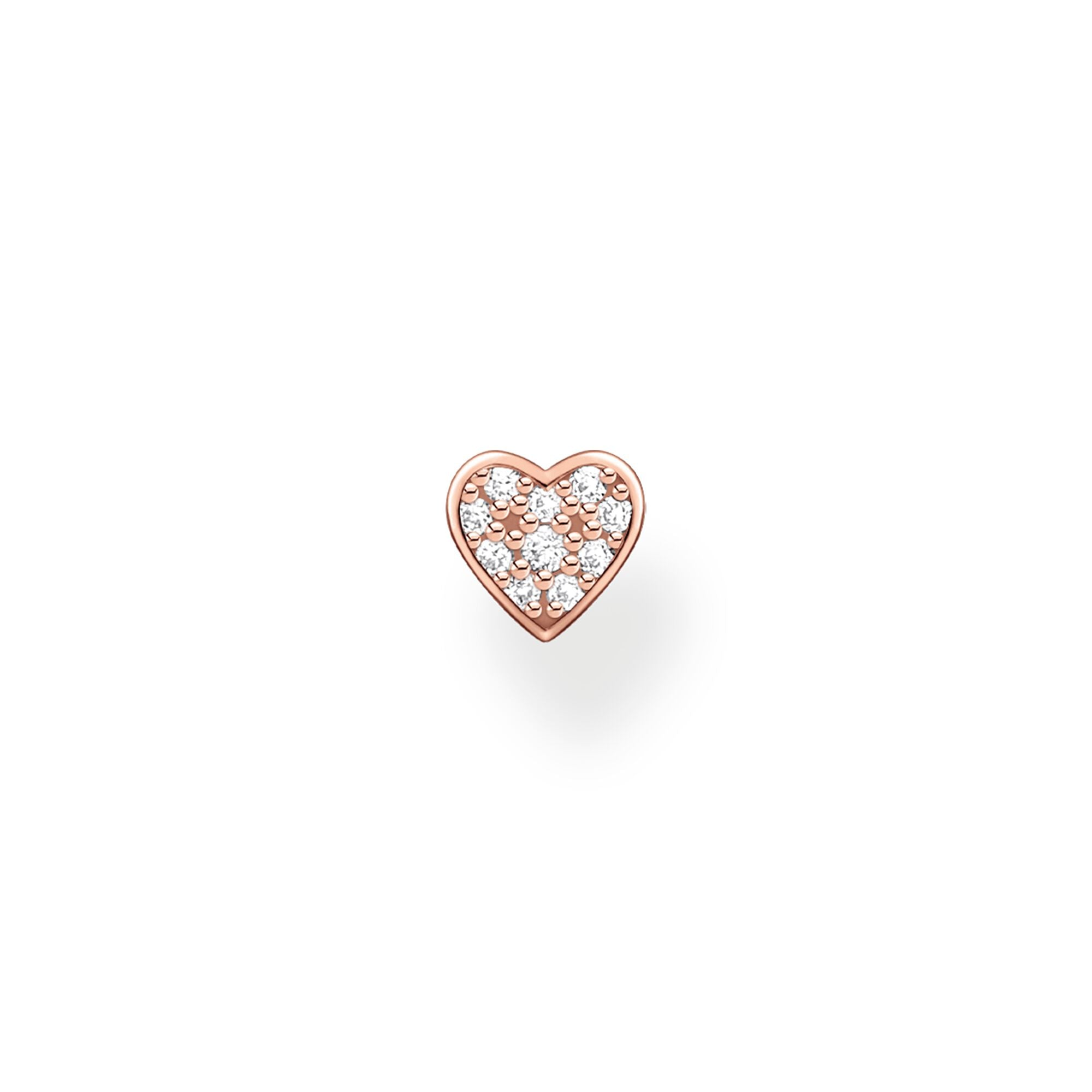 Thomas Sabo, Sterling Silver, Rose Gold Plated, Cubic Zirconia, Pave, Heart, Single Earring Stud, Push backing, Ottawa