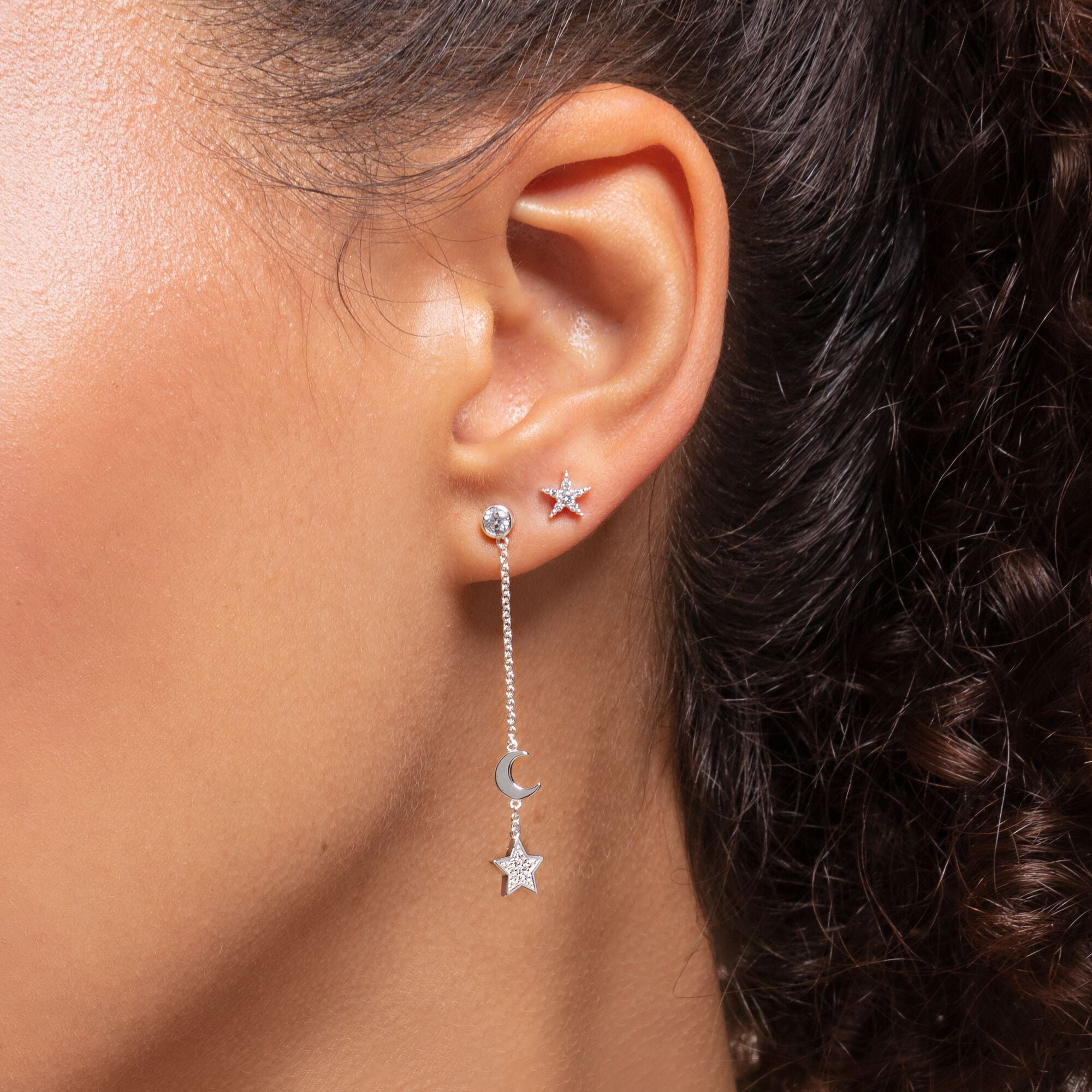 Thomas Sabo, Sterling Silver, Cubic Zirconia, Moon & Star, Dangle, Chain, Single Stud Earring, Push backing, Ottawa