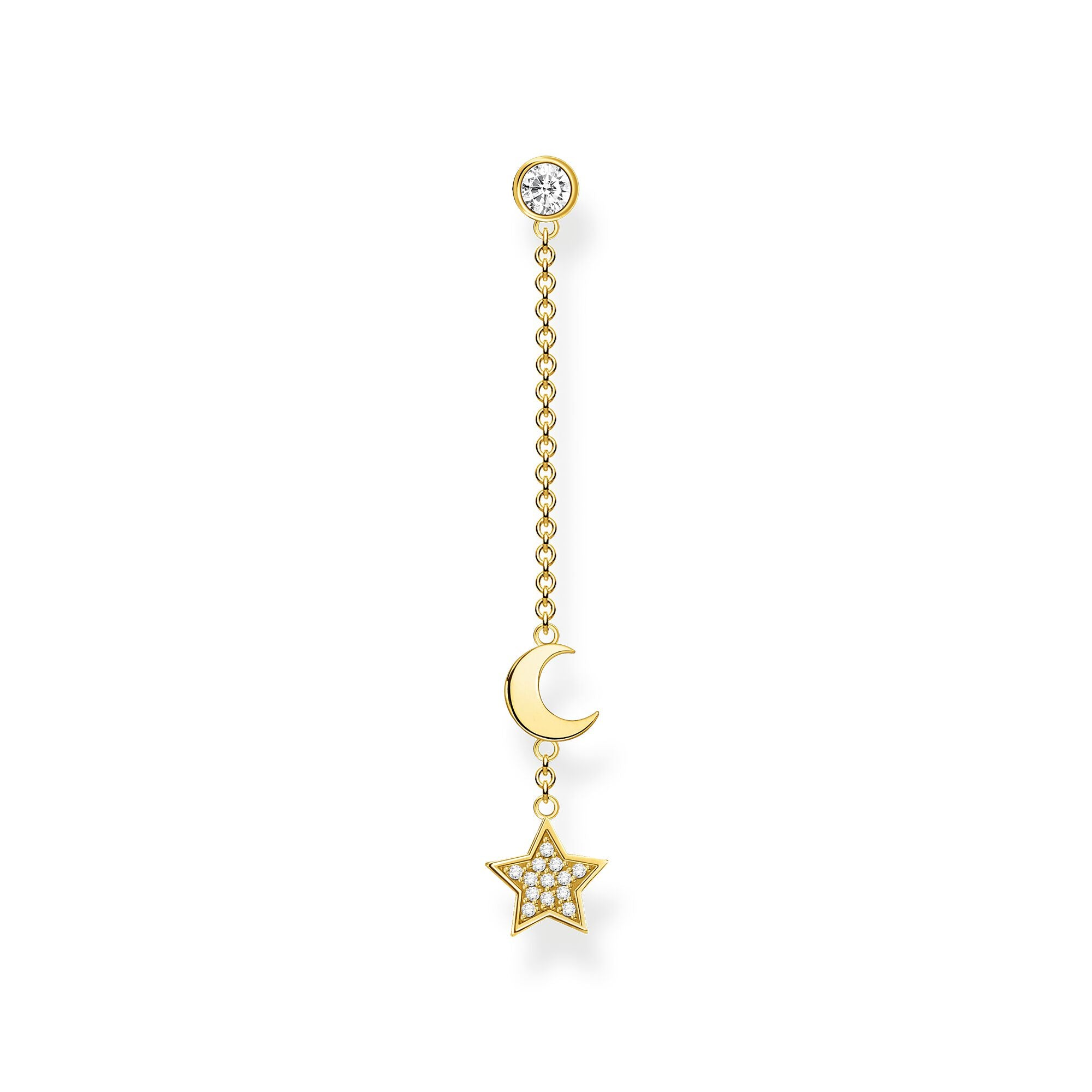 Thomas Sabo, Sterling Silver, Yellow Gold Plated, Cubic Zirconia, Moon & Star, Dangle, Chain, Single Stud Earring, Push backing, Ottawa