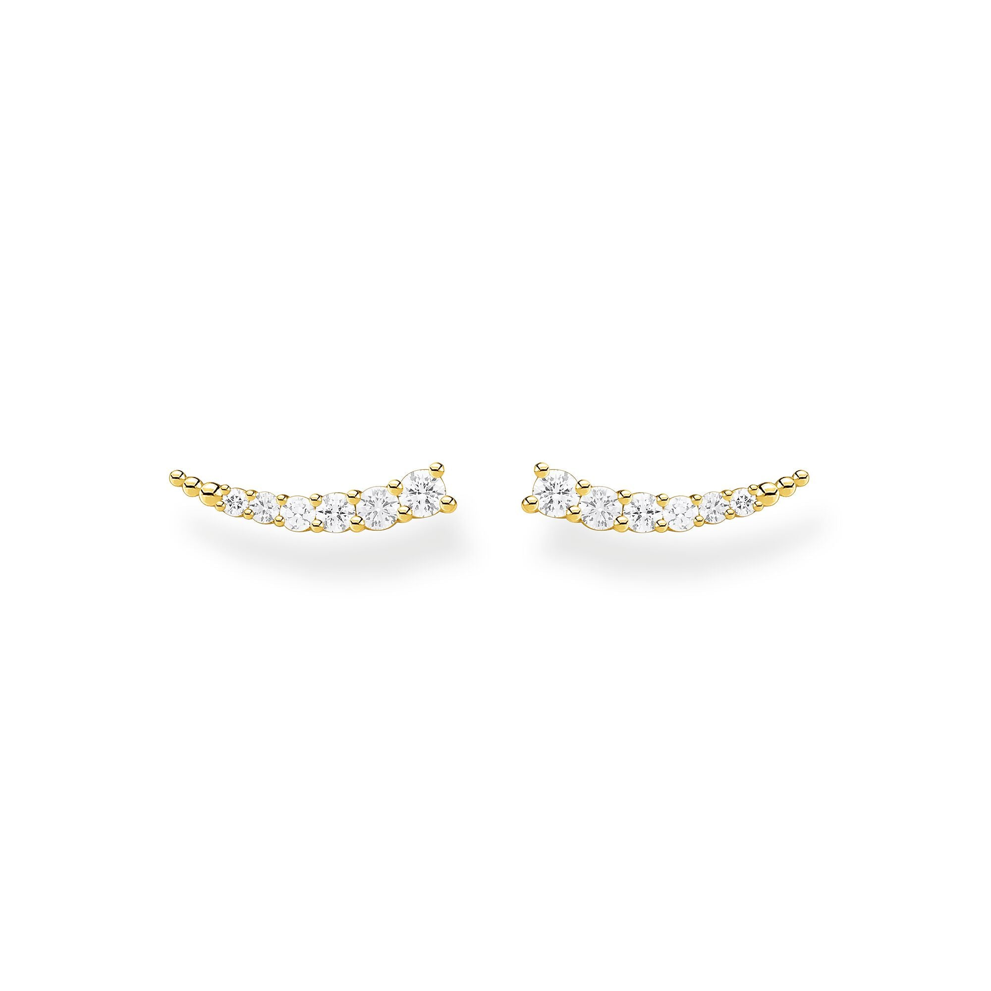 Thomas Sabo, Sterling Silver, Yellow Gold Plated, Cubic Zirconia, Multi Stone, Curve, Earring Climbers, Ottawa