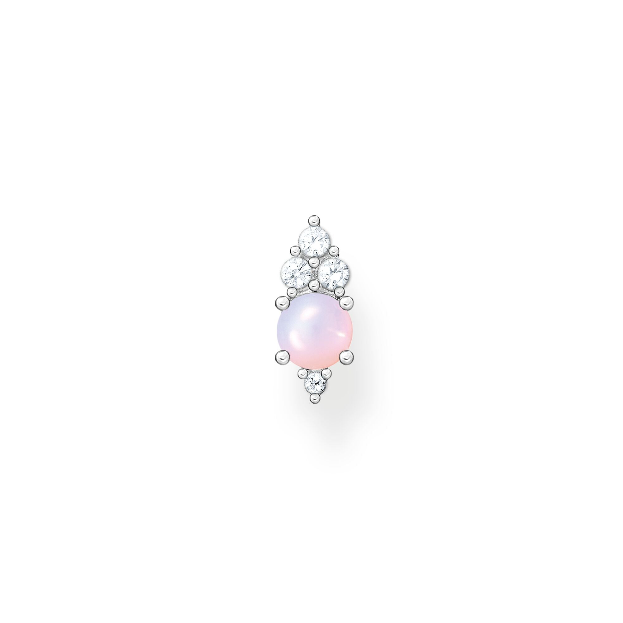 Thomas Sabo sterling silver and pink opal effect stone, white cz single stud earring