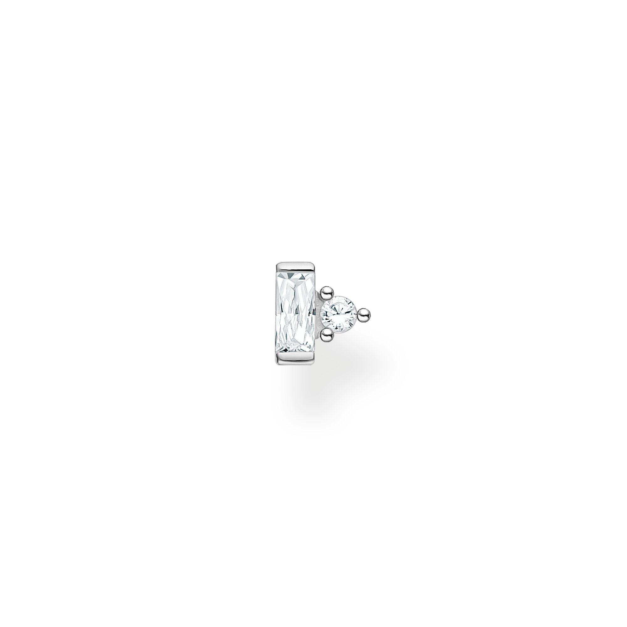 Thomas Sabo sterling silver and white baguette stone with round stone accent, single stud earring