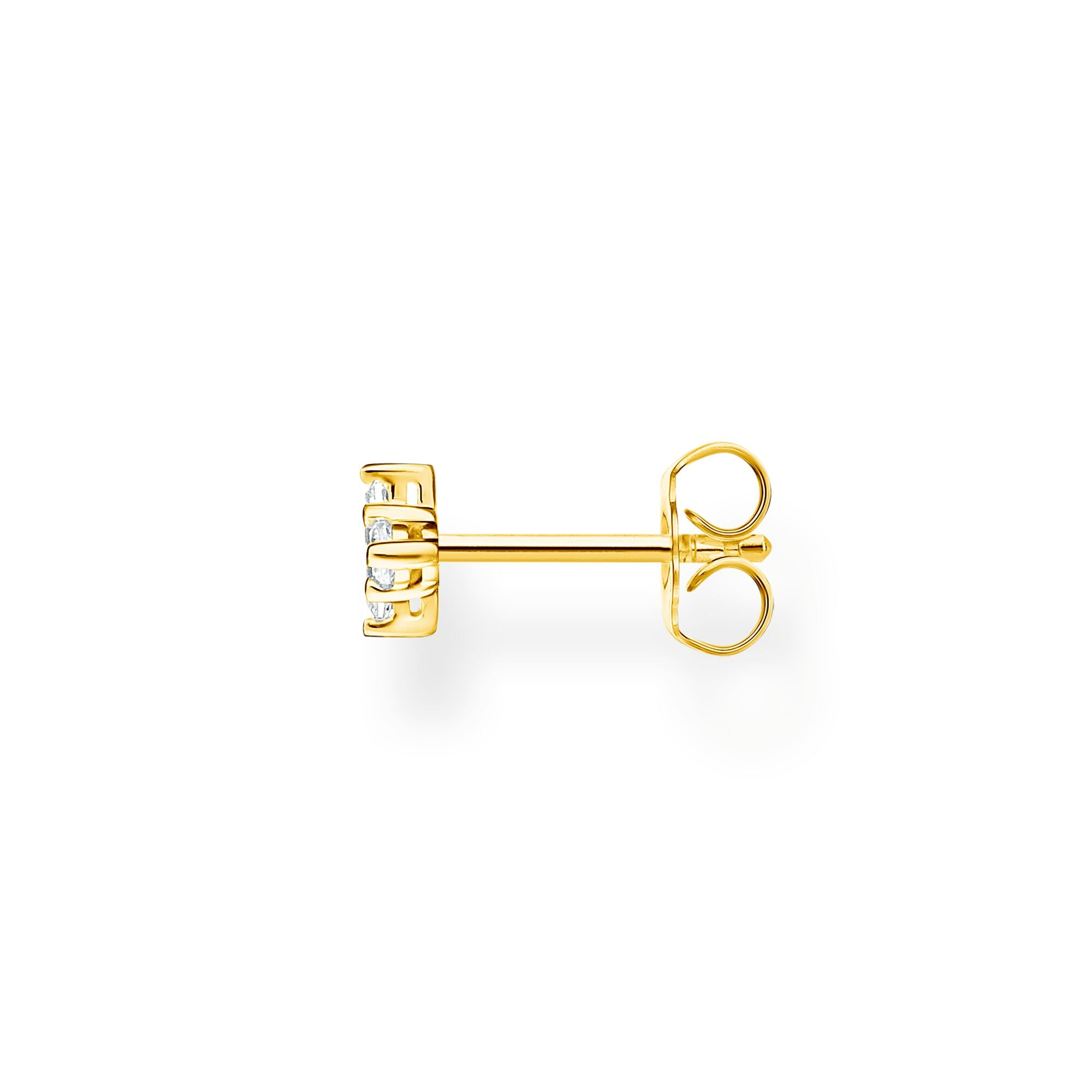Thomas Sabo 18k yellow gold plated sterling silver and white baguette stone with round stone accent, single stud earring
