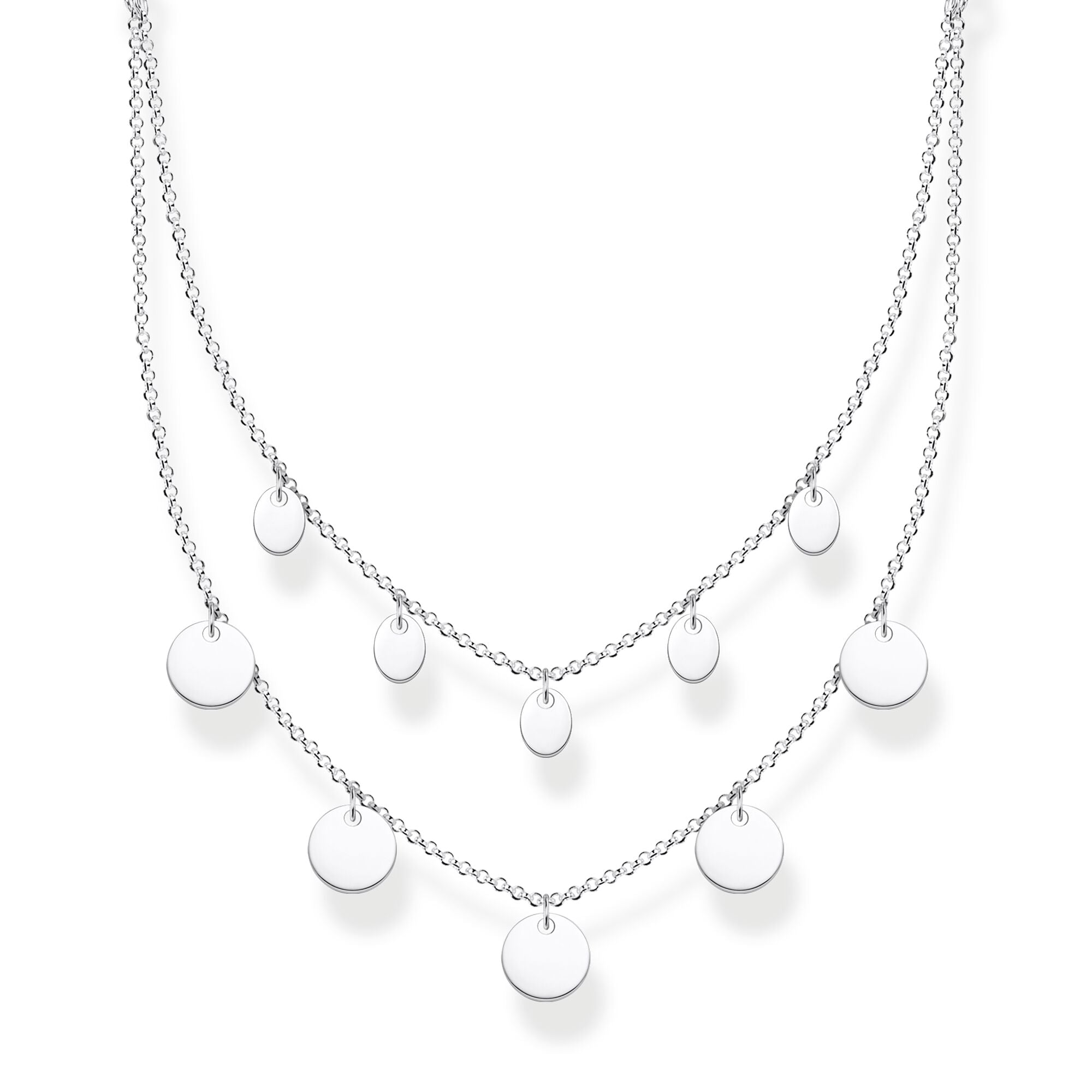 Thomas Sabo sterling silver double layer disk necklace