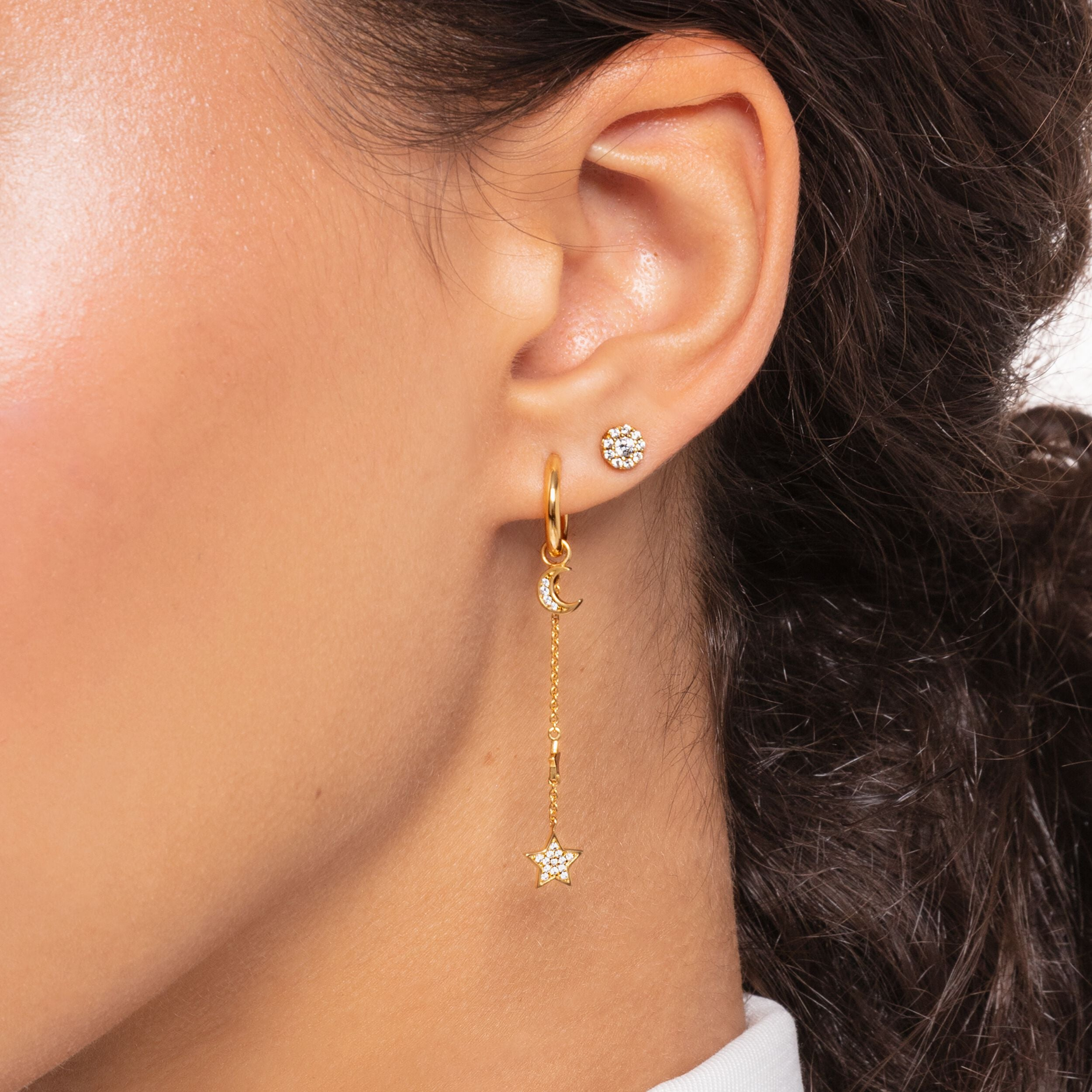 Thomas Sabo, Sterling Silver, Yellow Gold Plated, Cubic Zirconia, Multi Stone, Moon, Single Earring Pendant, Ottawa