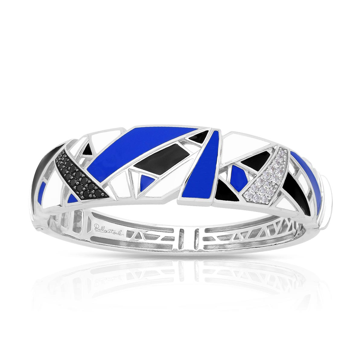 Belle Etoile Sterling Silver Spectrum Bangle in Blue, Black and White