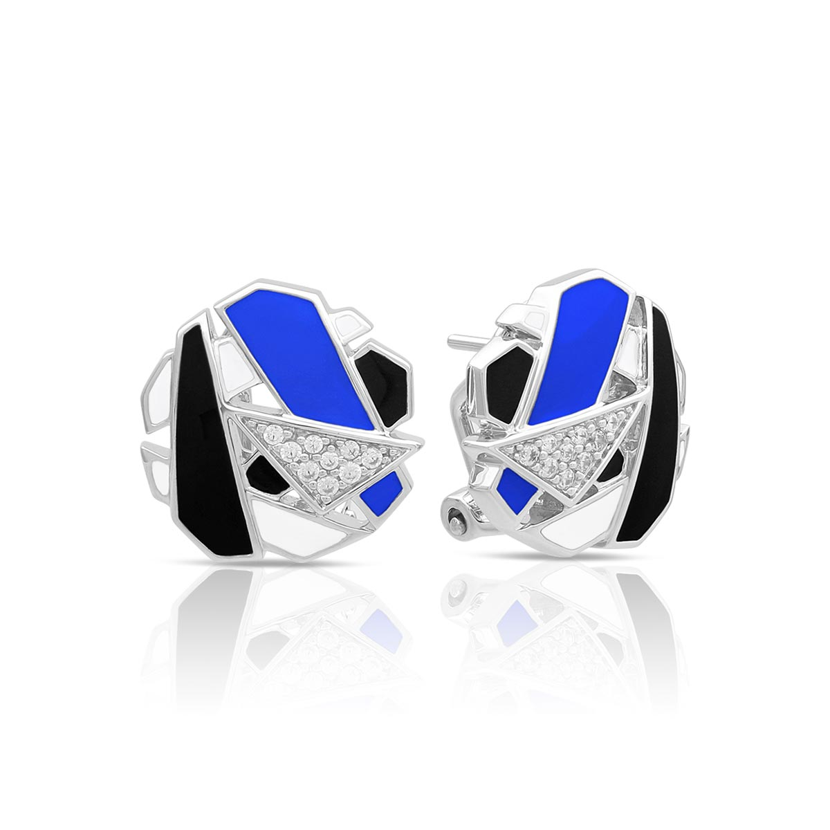 Belle Etoile Sterling Silver Spectrum Earrings in Blue, Black and White
