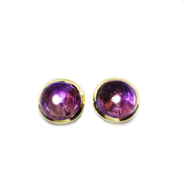 Petit Bijoux 18k Yellow Gold Plate Sterling Silver Cabochon Amethyst Large Stud Earrings
