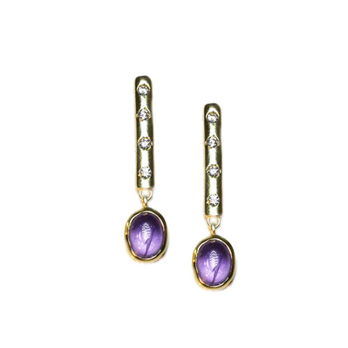 Amethyst and cubic zirconia dangle earrings