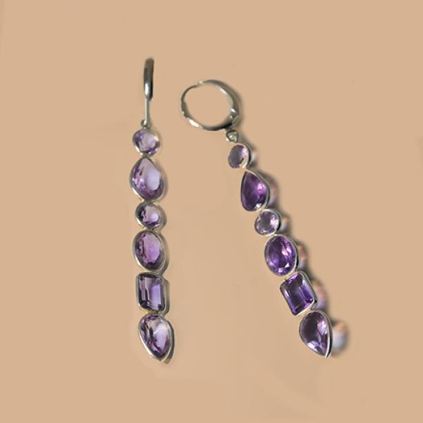 Petit Bijoux Sterling Silver with Amethyst  Huggie-Style Dangle Earrings